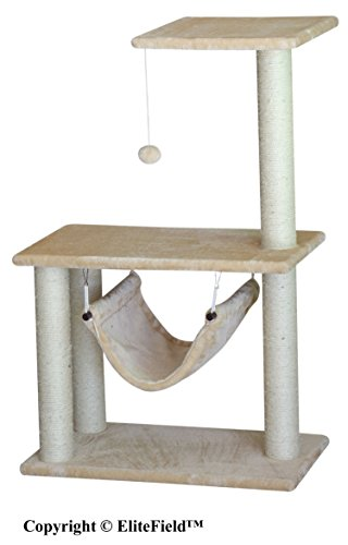 "EliteField Cat Tree, Scratcher Furniture Condo House, Multiple Sizes Available (24"" L x 14"" W x 37"" H-B)"