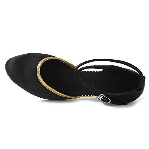 De Modelo zapatos Para 7 Dwx Lentejuelas 7cm Negro Oro Mujer Swdzm Zapatillas tacón Baile wa5661