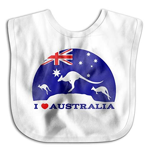 I Love Australia And Kangaroo Baby Bibs Baby Toddler Waterproof Lunch Bibs | Easily Wipes Clean (Best Baby Wipes Australia)