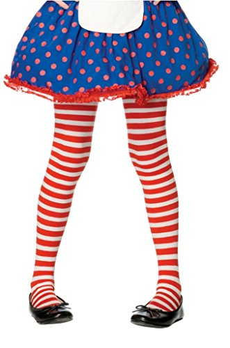 Girls Striped Tights 7 color combinations 3 Sizes (Medium, White/Red) -