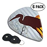 Guitar Picks 6 pcs,Heron Silhouette Standing On Tall Grass With Circles And Vertical Stripes Background