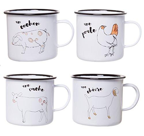Charming Enameled Coffee Mug, Adorable Farm Animal Illustrations, Set of 4 Styles, 21 fl oz by Red Co.