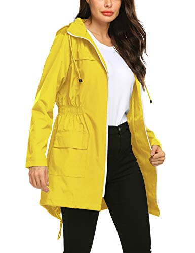 Avoogue Lightweight Travel Trench Raincoat Windproof Hoodies Rain Jacket Quick Dry Plus Size Raincoats for Women Yellow XL