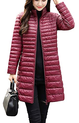 Itemnew Women's Basic Stand Collar Full Zip Quilted Long Puffer Down Jacket Duster Coat (Medium, Wine Red) (Full Quilted Coat Zip)