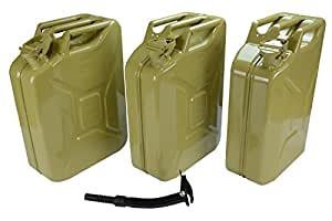 3 LOT 5 Gallon NATO Jerry Can 20L Gas Fuel Army Military Metal Steel Diesel Yellow 5 YEAR WARRANTY