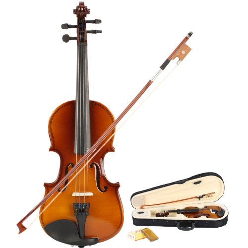GLARRY 1/8 Acoustic Violin + Case + Bow + Rosin Natural for kids by GLARRY