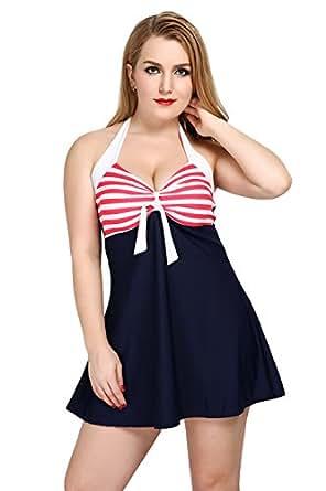 Women's Slimming Plus Size Two Piece Boyleg Swimsuit Skirt