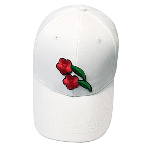 - Dad Hat, Tloowy Unisex Flower Applique Cotton Cap Snap-back Hat Hip Hop Flat Hats Baseball Caps (White)