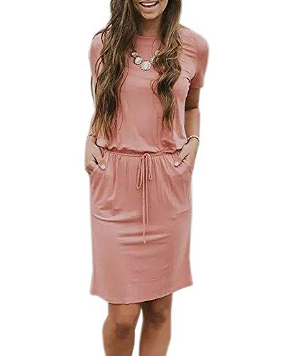 Youxiua Womens Summer Short Sleeve Plain Drawstring Party Round Neck Casual Pocket Midi Dresses