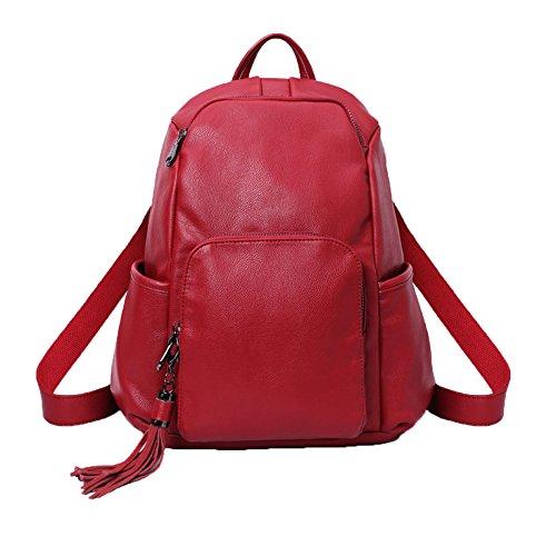Occasionnel Sac Bandoulière Sac En Red à Womens QXMEI Cuir Sac Filles Daypack Fashion Les à Pour PU à Main Dos qR6fO8t