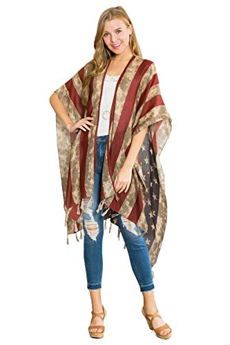 American Flag Patriotic Shawl Wrap Cardi - July 4 USA Stars Stripes Open Kimono Cardigan, Long Vest, Scarf (Kimono Cardi - Rustic Flag Back)]()