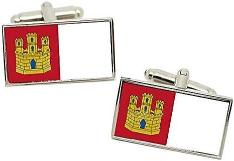 Castilla-La Mancha (España) Bandera Gemelos en una Carcasa Cromo: Amazon.es: Ropa y accesorios