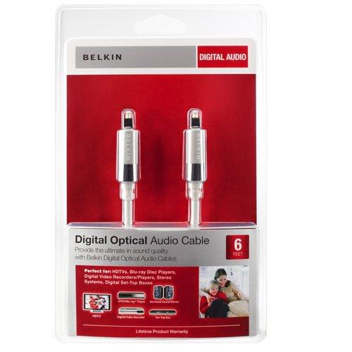 Belkin AV10033-06-WHT 6 Foot Digital Optical Audio Toslink Cable White (1.8 Meters)