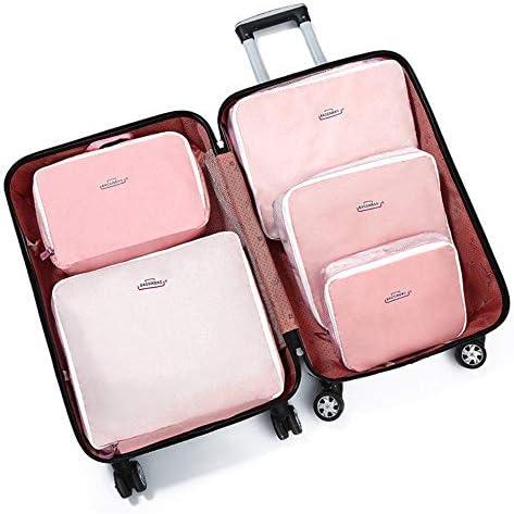 トラべラブ圧縮バッグ 靴の袋快適なハンドル高密度基本的なメッシュ旅行服収納袋セット収納仕上げ5ピース(カラーブルー) トラベルポーチ 出張 旅行 便利グッズ (Color : Pink, Size : Free size)
