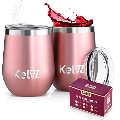 KelvZ 2 Pack Insulated Wine Tumbler with Lid | 12 oz Stemless Wine Glasses | Stainless Steel Tumbler for Cold Wine and Hot Drinks | Double Wall Vacuum Insulated Tumbler Wine Glass Set (Rose Gold) (Best Insulated Tumbler With Lid)