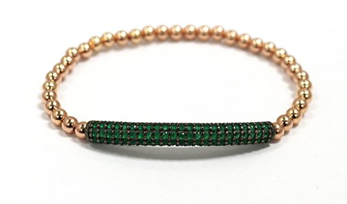 4mm Rose Gold Bracelet with Green Pave Bar