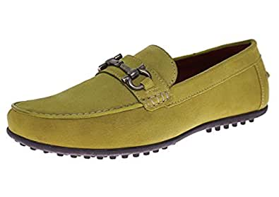 Natazzi Mens Suede Leather Shoe Kimo Slip-On Driving Moccasin (44.5 M EU / 11.5 D(M) US, Yellow)