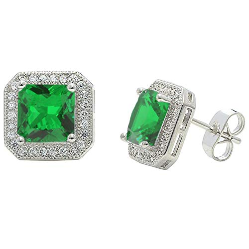 3dd26b1f35003 Amazon.com: NYC Sterling Cubic Zirconia Square Colored Halo Stud ...