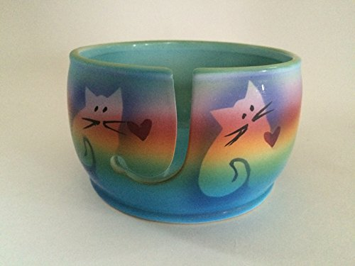 - Kitty Cat Yarn Bowl by Award-Winning Artist Judith Stiles. Handmade in USA (Cape Cod). Pottery Knitting & Crochet Bowl, Handmade Durable Pottery. Gift for Knitters, Cat Lovers and Animal Lovers.
