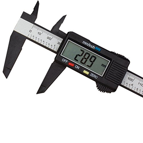 Vernier Calipers 150mm 6inch LCD Digital Display Electronic Carbon Fiber Gauge Micrometer Measuring Tool Best Christmas Gift For Home Projects Men Women HSJ-05-US