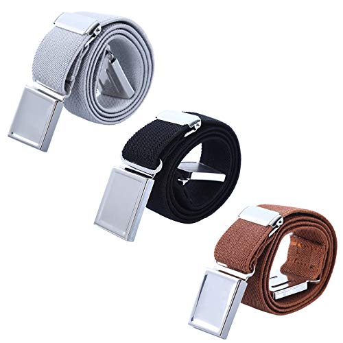 AWAYTR Kids Magnetic Belts for Boys - 3 Pieces Toddler Belts for Boys and Girls (Gray/Black/Brown) ()