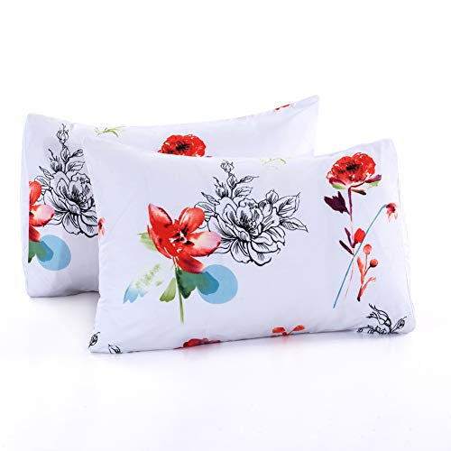Leadtimes Floral Pillowcases 2 Packs, Stardard Size White 100% Brushed Microfiber Ultra Soft Pillow Covers - Envelope Closure End (Twin/Queen, Style 1) - Floral Pillowcase
