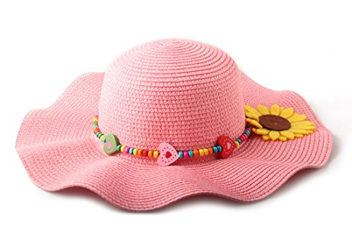 Dantiya Kids Multicolor Sun Hat Large Brim Flower Beach Hats for Girls ,Pink, Free Size