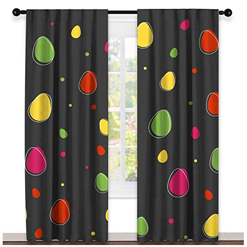 Greatdecor Easter Background with Eggs Vector Wallpaper Warm Curtain Sliding Glass Door Curtain(2 Panels, W63 x L45 Inch)