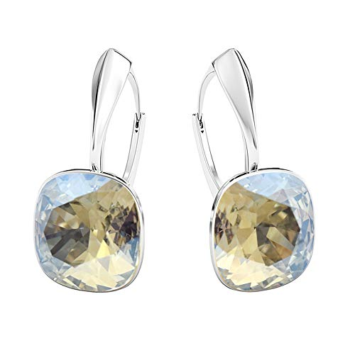 Beforya Paris - Diamond's Depth - Earrings 925 Silver - 44 Colors !! - Crystals From Swarovski - 925 Sterling Silver for Woman - Earrings with Gift Box (Moonlight)