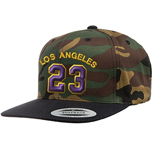 (Custom Embroidered Snapback Hat Los Angeles Jersey #23 Baseball Cap - Woodland Camo Purple Gold)
