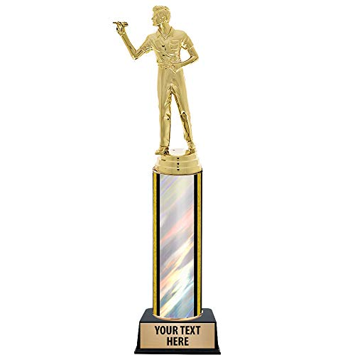 """11"""" Customized Darts Male Trophies - Darts Male Silver Trophy Prime"""