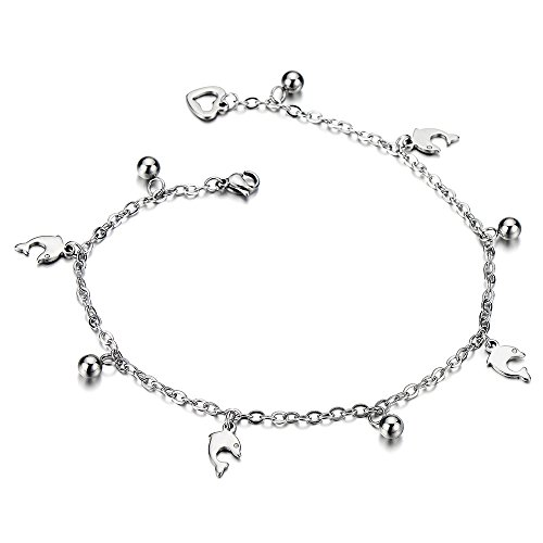 Stainless Anklet Bracelet Dangling Dolphins