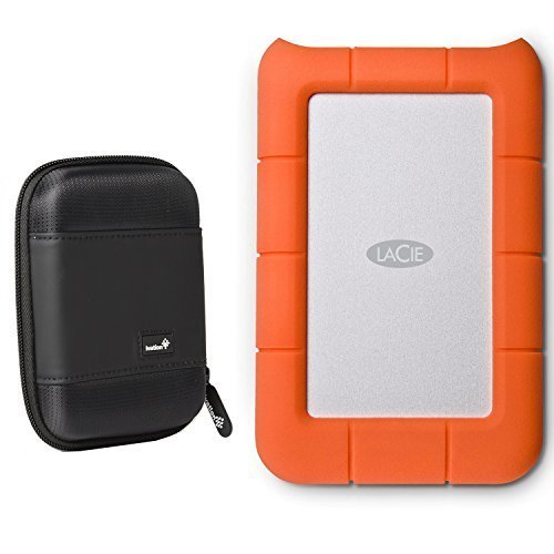 LaCie Rugged Mini USB 3.0 / USB 2.0 1TB External Mobile Hard Drive 301558 with Ivation Compact Portable Hard Drive Case by Calumet