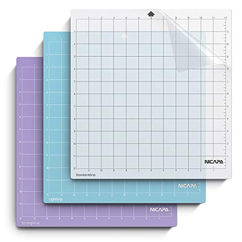 Nicapa Replacement Cutting Mat for Silhouette(12x12 inch 3pack-Standardgrip、Lightgrip、Stronggrip) Adhesive&Sticky Non-Slip Flexible Square Gridded Cut Mats Set Matts Vinyl Craft Sewing Cloth