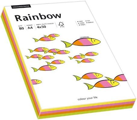 Papyrus 88043191 Drucker-/Kopierpapier farbig: Rainbow Mixed Fluo, 80 g/m², A4, 200 Blatt (rosa, orange, grün, gelb)