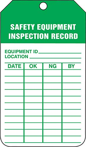 - Accuform TRS250CTP Safety Tags Status Alert SAFETY EQUIPMENT INSPECTION RECORD PF-Cardstock 25 PK