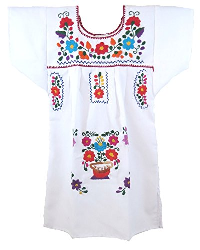 Ethnic Identity Embroidered Mexican Youth Girl Dress (Ages 1, White) from Ethnic Identity