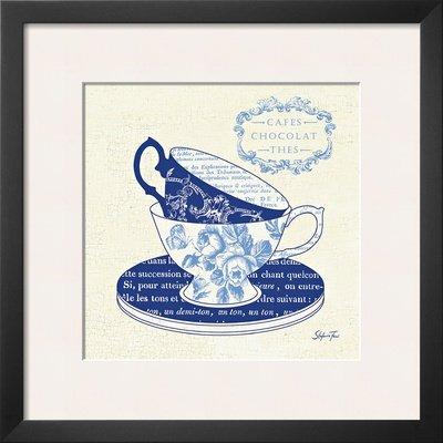 Blue Cups II Framed Art Poster Print by Stefania Ferri, 19x19