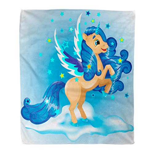 (Emvency Flannel Throw Blanket Colorful Animal Unicorn Character Stand on Their Hind Legs Wings Blue and Beige Color Azure 60x80 Inch Lightweight Cozy Plush Fluffy Warm Fuzzy Soft)