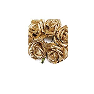 Solarwind2 Fake-flowers 7 Foam Rose Artificial Flower Glitter Bridal Bouquet Home Wedding Decoration Silver Color According to The Picture,Gold 31