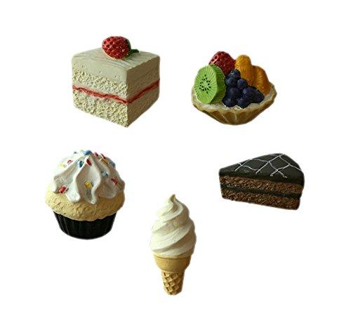 (BAKERY Fridge Magnets Strawberry Cake, Fruit Tart, Cup Cake, Soft Ice Cream Cone, Chocolate Cake Resin 3D fridge Refrigerator Thai Magnet Hand Made Craft.)