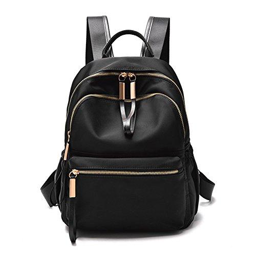Waterproof Oxford Backpack Small Purse for Women Girls Fashion School Satchel Shoulder Bags (Oxford, Black)