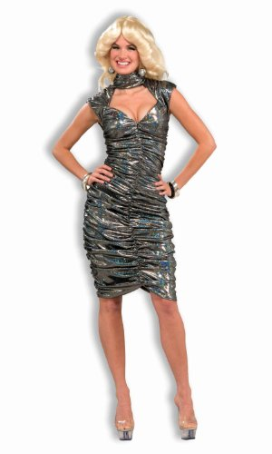 Dancing Dresses And Costumes (Forum Novelties Women's 70's Disco Fever Dancing Queen Costume Dress, Silver, X-Small/Small)