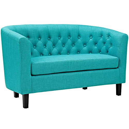 - Modway Prospect Upholstered Contemporary Modern Loveseat In Pure Water