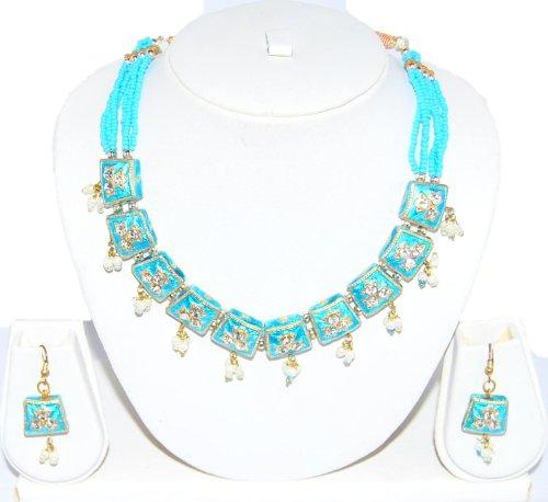 Authentic Designer Indian Lac / Rajasthani Style Costume Jewelry Set for Women / AZINLC029-LBL - Designer Costume Jewellery Mumbai