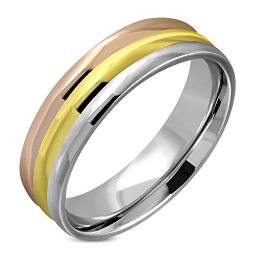 Stainless Steel 3 Color Tricolor Ribbed Comfort Fit Half-Round Band Ring