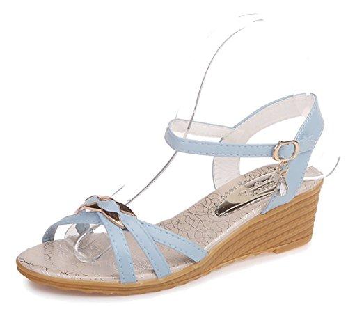 FEMAROLY cuñas Sandalias Hembra Verano con Hebilla Estudiantes Zapatos de Verano, Azul, 6 B(M) US