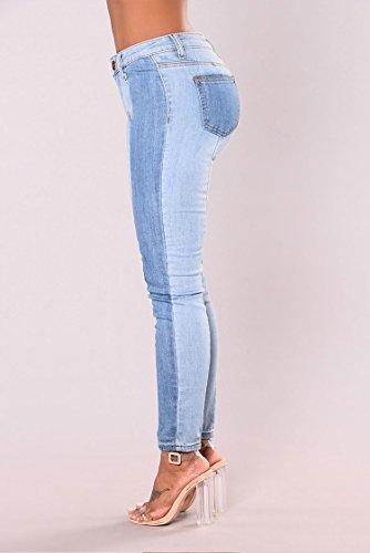 Con Toppe Oudan Jeans Blu Donna Lunghi Vita Casuali Stretti In Elastico Pantaloni Normale A Denim wfA1w