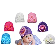 6 Pack Baby Hat - Baby Girl Shower Gifts - Perfect for Newborns, and Twins - Baby Photo Prop - Newborn Photography - Baby Clothes(light pink, dark pink, white, blue, and purple)