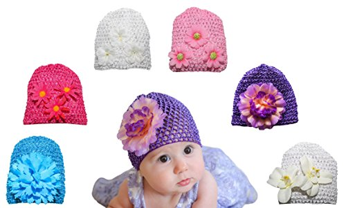 6 Pack Baby Hat – Baby Girl Shower Gifts – Perfect for Newborns, and Twins - Baby Photo Prop - Newborn Photography - Baby Clothes (Gift For Newborn Baby Girl)